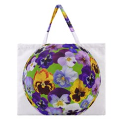 Spring Pansy Blossom Bloom Plant Zipper Large Tote Bag