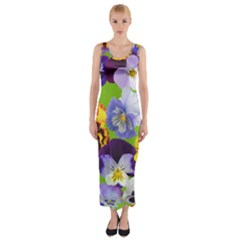 Spring Pansy Blossom Bloom Plant Fitted Maxi Dress