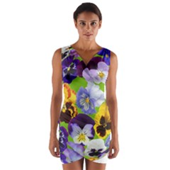 Spring Pansy Blossom Bloom Plant Wrap Front Bodycon Dress