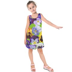 Spring Pansy Blossom Bloom Plant Kids  Sleeveless Dress