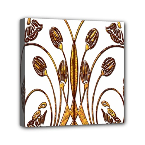 Scroll Gold Floral Design Mini Canvas 6  X 6