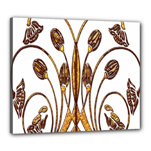 Scroll Gold Floral Design Canvas 24  X 20