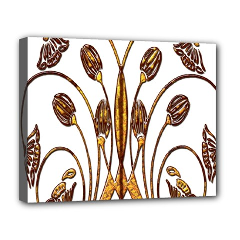 Scroll Gold Floral Design Deluxe Canvas 20  X 16