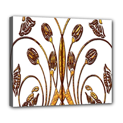 Scroll Gold Floral Design Deluxe Canvas 24  x 20