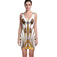 Scroll Gold Floral Design Sleeveless Bodycon Dress
