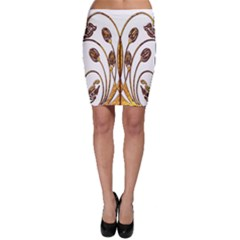 Scroll Gold Floral Design Bodycon Skirt