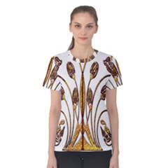 Scroll Gold Floral Design Women s Cotton Tee