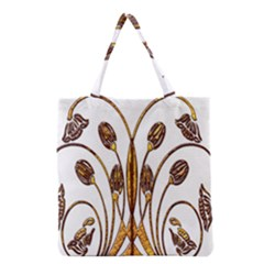 Scroll Gold Floral Design Grocery Tote Bag