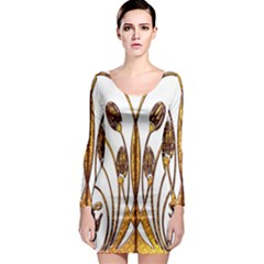 Scroll Gold Floral Design Long Sleeve Bodycon Dress