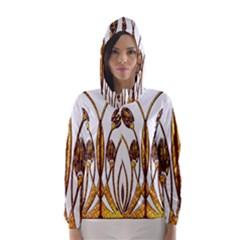 Scroll Gold Floral Design Hooded Wind Breaker (Women)