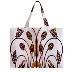 Scroll Gold Floral Design Zipper Mini Tote Bag