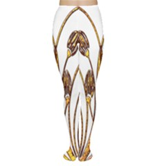 Scroll Gold Floral Design Women s Tights