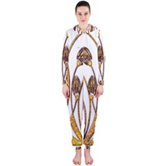 Scroll Gold Floral Design Hooded Jumpsuit (ladies)