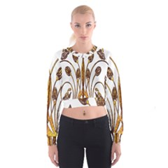 Scroll Gold Floral Design Cropped Sweatshirt