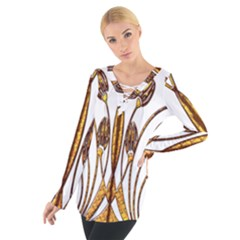Scroll Gold Floral Design Women s Tie Up Tee