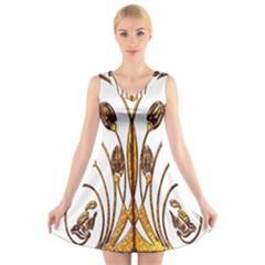 Scroll Gold Floral Design V Neck Sleeveless Skater Dress