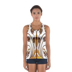 Scroll Gold Floral Design Women s Sport Tank Top