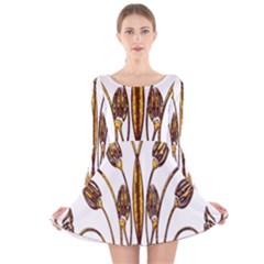 Scroll Gold Floral Design Long Sleeve Velvet Skater Dress