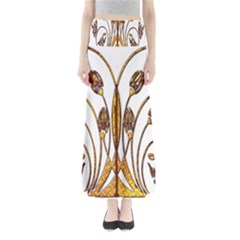 Scroll Gold Floral Design Maxi Skirts