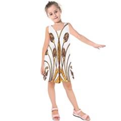 Scroll Gold Floral Design Kids  Sleeveless Dress