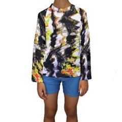Canvas Acrylic Digital Design Kids  Long Sleeve Swimwear