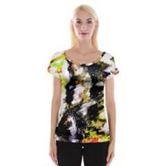 Canvas Acrylic Digital Design Women s Cap Sleeve Top