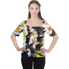 Canvas Acrylic Digital Design Women s Cutout Shoulder Tee