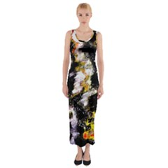 Canvas Acrylic Digital Design Fitted Maxi Dress