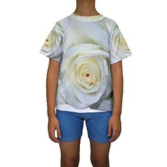 Flower White Rose Lying Kids  Short Sleeve Swimwear