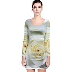 Flower White Rose Lying Long Sleeve Bodycon Dress