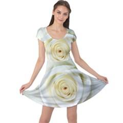Flower White Rose Lying Cap Sleeve Dresses