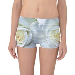 Flower White Rose Lying Boyleg Bikini Bottoms