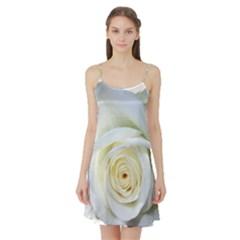 Flower White Rose Lying Satin Night Slip
