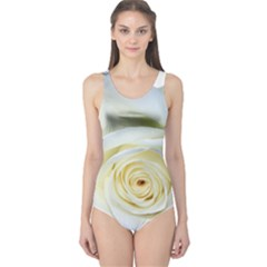 Flower White Rose Lying One Piece Swimsuit