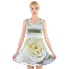 Flower White Rose Lying V Neck Sleeveless Skater Dress