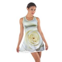 Flower White Rose Lying Cotton Racerback Dress