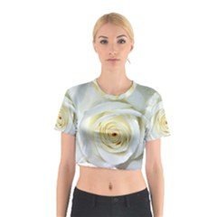 Flower White Rose Lying Cotton Crop Top