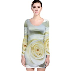 Flower White Rose Lying Long Sleeve Velvet Bodycon Dress