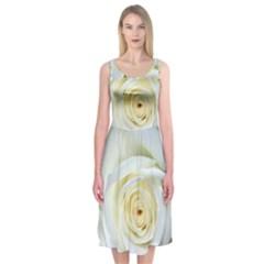 Flower White Rose Lying Midi Sleeveless Dress