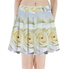 Flower White Rose Lying Pleated Mini Skirt