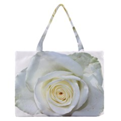 Flower White Rose Lying Medium Zipper Tote Bag