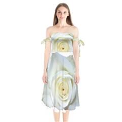 Flower White Rose Lying Shoulder Tie Bardot Midi Dress