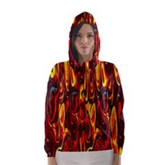 Effect Pattern Brush Red Orange Hooded Wind Breaker (Women)