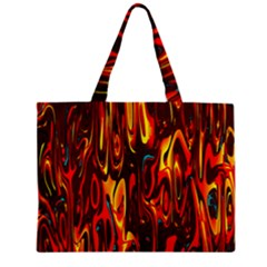 Effect Pattern Brush Red Orange Zipper Mini Tote Bag