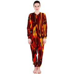 Effect Pattern Brush Red Orange Onepiece Jumpsuit (ladies)