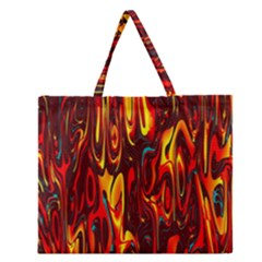 Effect Pattern Brush Red Orange Zipper Large Tote Bag