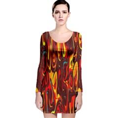 Effect Pattern Brush Red Orange Long Sleeve Velvet Bodycon Dress