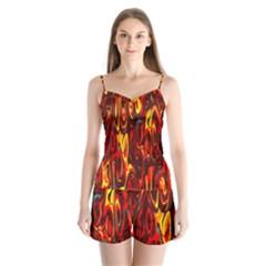 Effect Pattern Brush Red Orange Satin Pajamas Set