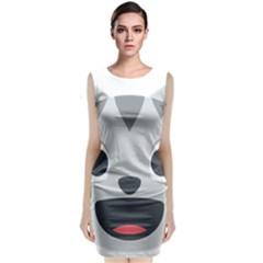 Cat Smile Sleeveless Velvet Midi Dress