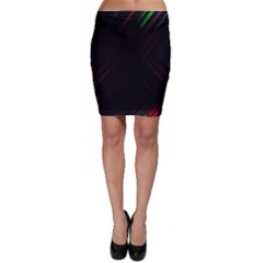 Streaks Line Light Neon Space Rainbow Color Black Bodycon Skirt